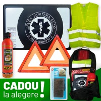 Pachet Auto PREMIUM:  Trusa sanitara auto Romania aviz RAR si MSP (valabila 4 ani) + Stingator + 2 Triunghiuri semnalizare + Vesta + Cadou la alegere