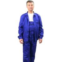 Pantalon de lucru cu pieptar unisex, elastic si cordon, 4 buzunare, doc 100% bumbac sanforizat, 270gr/m2, albastru, marimi XS, S, M, L, XL (1 bucata)