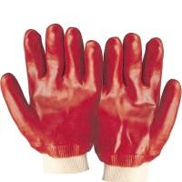 Manusi antichimice PVC, suport textil, rosii, manseta elastica, XL - 25cm lungime (1 pereche)