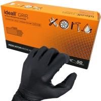 Manusi nitril Negre pentru lucratori in domeniul tehnic, groase, texturate, marimi M/L/XL/XXL - Ideall GRIP+ (50 bucati - 25 perechi)