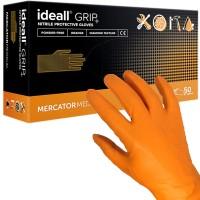 Manusi nitril Portocalii pentru lucratori in domeniul tehnic, groase, texturate, marimi M/L/XL - Ideall GRIP+ (50 bucati - 25 perechi)