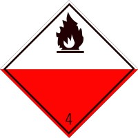 Eticheta ADR suport aluminiu Pericol Transport substante predispuse la ardere spontana clasa 4.2 (300x300mm)