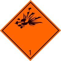 Eticheta ADR suport aluminiu Pericol Transport substante si obiecte explozive clasa 1 (300x300mm)