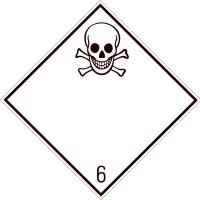 Eticheta ADR suport aluminiu Pericol Transport substante toxice clasa 6.1 (300x300mm)