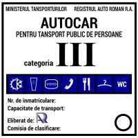 Placa clasificare autocar fixa, din aluminiu