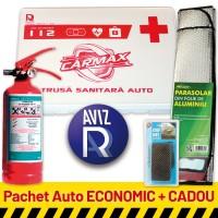 Pachet Auto ECONOMIC: Trusa sanitara auto  avizata RAR (valabila 5 ani) + Stingator P1 (valabil 5 ani) + CADOU