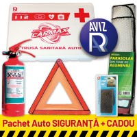 Pachet Auto SIGURANTA: Trusa sanitara auto  avizata RAR (valabila 5 ani) + Stingator P1 (valabil 5 ani) + Triunghi presemnalizare + CADOU