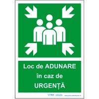 """Autocolant """"Loc de adunare in caz de urgenta"""" - polipropilena, 30x20,2cm"""